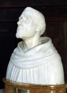 Buste van Dominicus in Bologna, gereconstrueerd op basis van zijn schedel.
